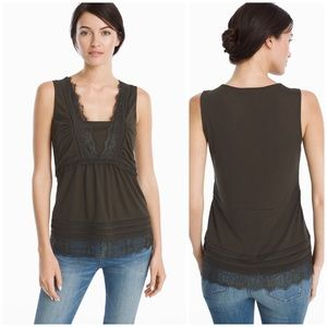 WHBM Lace-Trim Tank Top in Sergeant Green